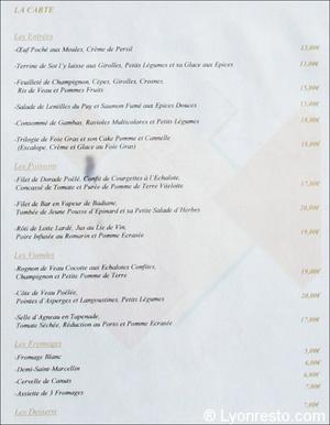 menu Le Carré des Saveurs