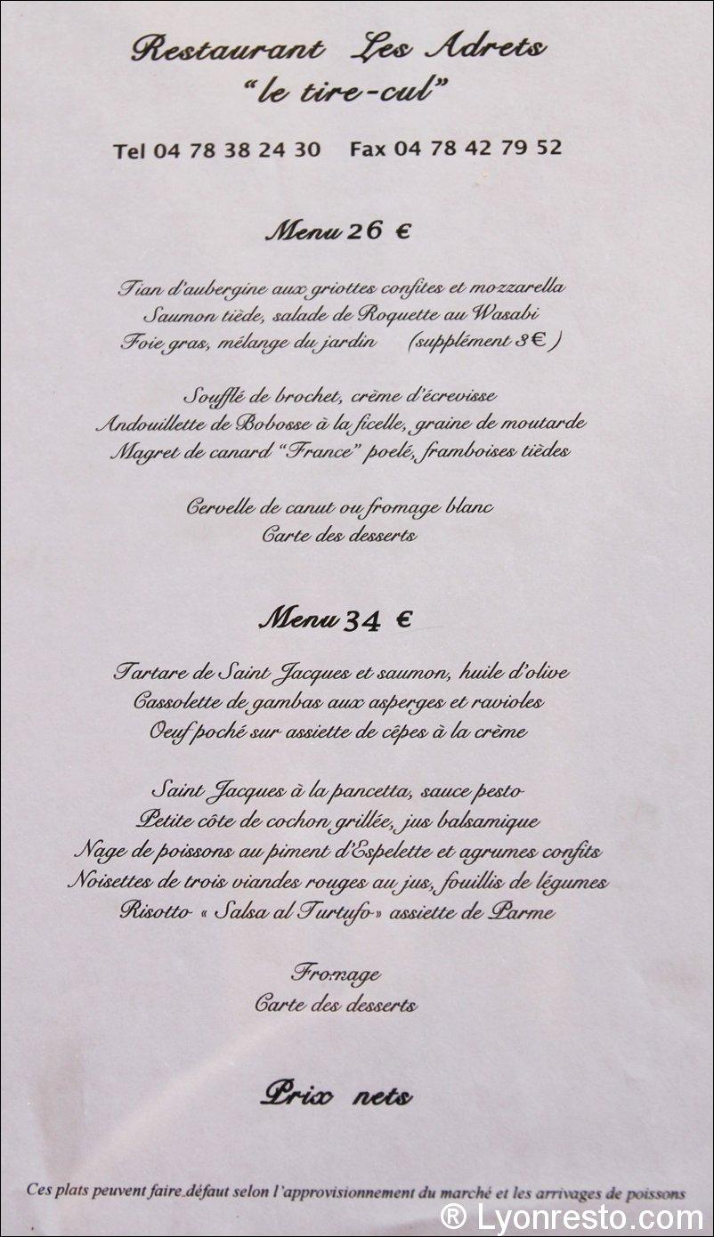 Le restaurant Les adrets à 69005 Lyon recommandé