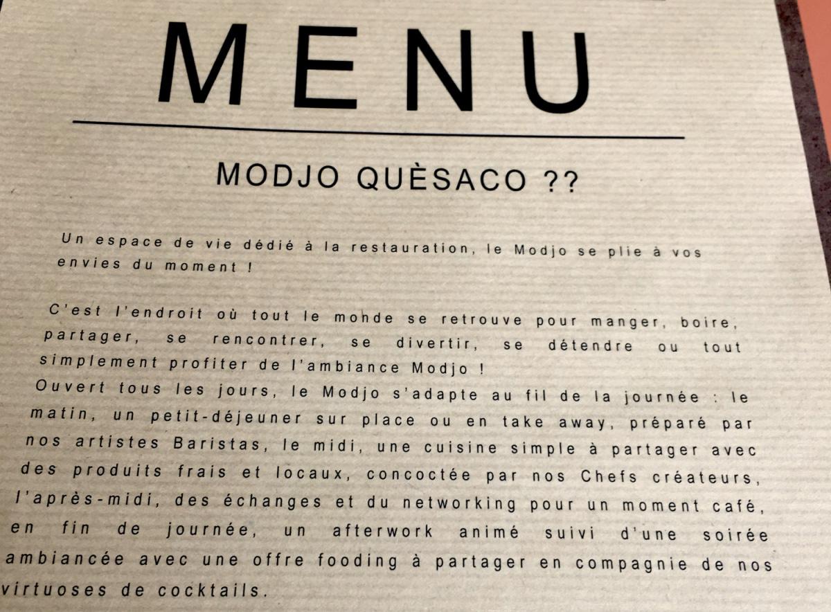 Le restaurant Modjo à 69003 Lyon recommandé