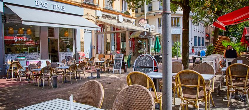 Terrasse du restaurant Bao Time à Lyon