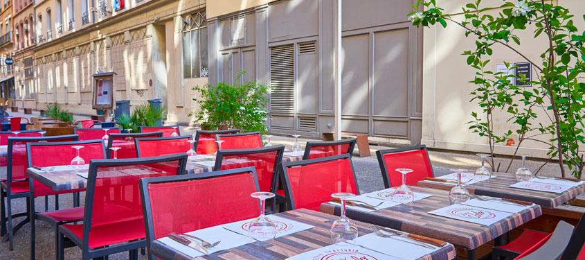 Terrasse du restaurant Chez Carlo à Lyon