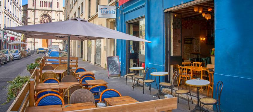 Terrasse du restaurant La cevichela à Lyon