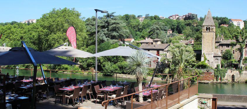 Les terrasses de restaurant au bord de l'eau à Lyon